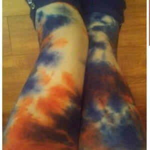 Pants - One Size Adult Orange & Blue Tie Dye Leggings
